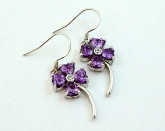 Vintage Four Leaf Clover Earrings, Purple Crystal, Sterling Silver Ear Hooks, Faux Amethyst Crystal Earrings, Amethyst Purple