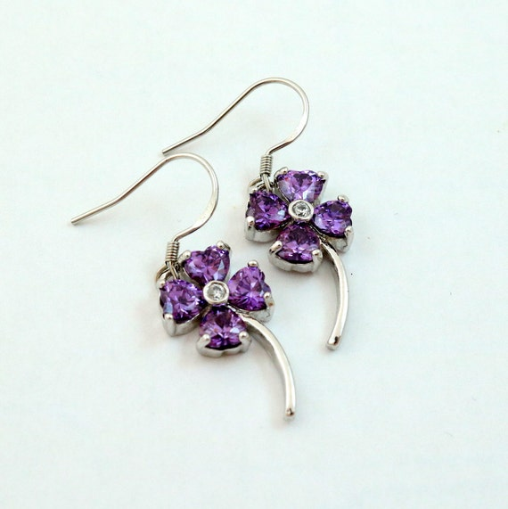 Vintage Amethyst Purple Crystal Four Leaf Clover Earrings