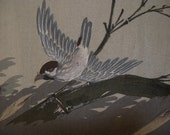 Vintage haori S28, mens haori, jacket, black, birds