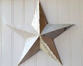 Wall star barn star vintage sheet music antique ledger paper French text metal star 12 inch home decor 3D Cottage Chic