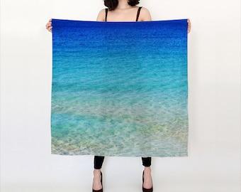 Calm Waters Habotai Silk Scarf, Ocean Blue Scarf, Wearable Art, Fashion, Accessories, Nature Silk Shawl, Women, Teen, Beach, Cover up, Aqua