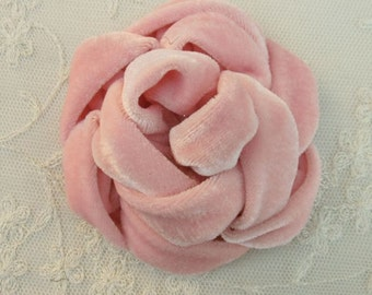 3.5 inch PINK Velvet Ribbon Rose Fabric Flower Applique Hat Corsage Pin Baby Pageant Bridal Hair Accessory Applique
