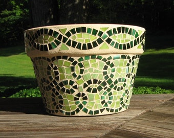 Stained Glass Mosaic Celtic Flower Pot Planter