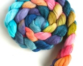 Merino/ Silk Roving (Top) - Handpainted Spinning or Felting Fiber, Spring in My Heart