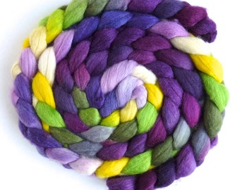 Polwarth/Silk Roving - Handpainted Spinning or Felting Fiber, Black Pansies
