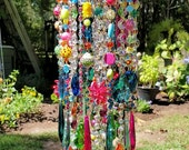 Jeweled Bohemian Carnival Antique Crystal Wind Chime