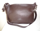 Cristina Italian pebbled leather large top zip cross body, hobo, handbag satchel  bag brown silver hardware vintage 90s