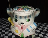 Vintage Feline Chat Kitty Cat Baker with Spoon Basket Handle Cookie Jar