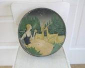 Vintage Metal Biscuit Tin, Metal Box, Vintage Cookie Tin, Round Biscuit Tin, Deer Tin, Mid Century Tin