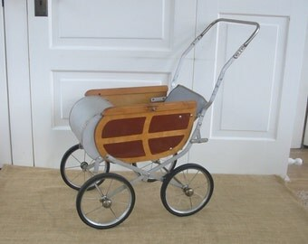 Vintage Wood Metal Baby Doll Stroller Carriage Buggy Pram Mid Century