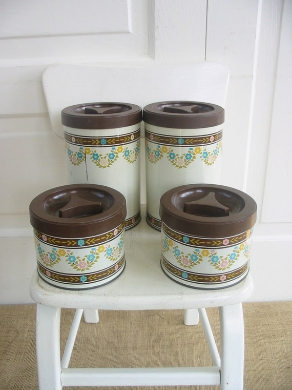 pink canisters kitchen vintage canister set flowers brown pink blue retro kitchen 14554