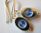Sky Blue Crystal Silver Hoop Earrings, Petite Blue and Silver Earrings