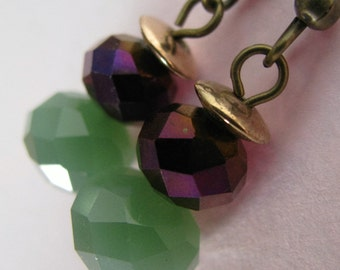 Jade Green and Purple Earrings, Jade Green and Antique Bronze Earrings, Geometric Earrings, Green Earrings