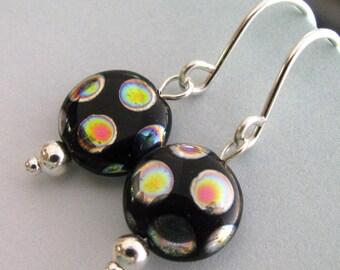 Black and Silver Peacock Earrings, Black Earrings, Black and Rainbow Polkadot Earrings