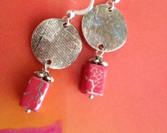 Pink Earrings, Pink Parched Earth and Silver Earrings