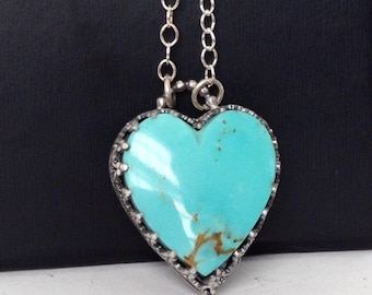 Small Kingman Heart Turquoise Necklace - Heart Necklace - Turquoise Heart Necklace - Kingman Turquoise Jewelry - Graduation Gift