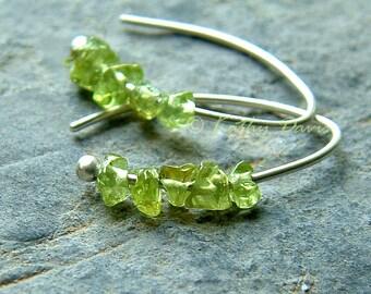 Small Silver Hoop Earrings Green Peridot Open Hoops Birthstone eco friendly jewelry, womens earrings
