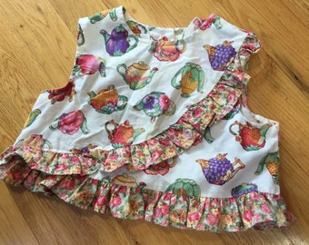 Vintage Baby Top, Girls Cropped Top, Garden Teapots Print, Vintage Kids Clothes, Baby Girls Vintage Top, Vegetables Tea Time Easter Baby 24m