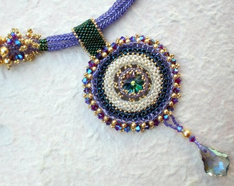 Statement  Crystal Necklace in Purple, Blue, Green Pendanat Jewelry Romantic Gift Rings of Saturn