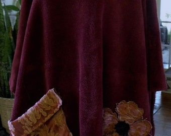 Game Day Fleece Caftan/ Free Size Caftan/ Deep Raspberry Caftan/ Oversized Caftan/ Decorated Caftan/ Sheerfab Funwear