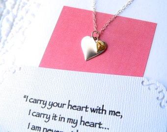 Remembrance Necklace Memorial Jewelry POEM CARD Included Sterling Silver Heart Brass Heart I Carry Your Heart Loss Loved One Gift Packaged