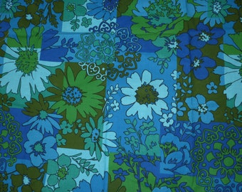 Vintage Flower Fabric Blue Green Mid Century 1960's