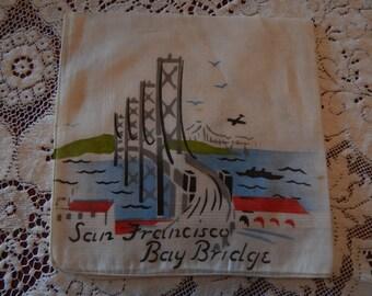 1948 Original San Francisco Bay Bridge Hankie - Never Used - Linen