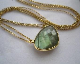 Labradorite Bezel Necklace-Layering Necklace-Minimalist Jewelry-Boho Jewelry