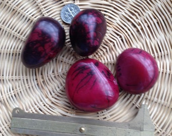 4 huge tagua nut beads ruby red