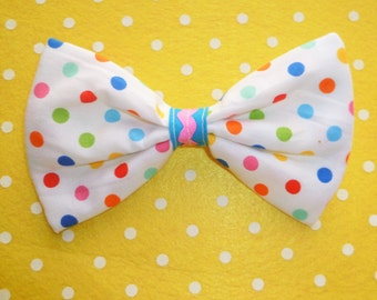 Kawaii bright coloured Dot Hair Bow Clip with blue and pink middle