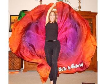 Sahariah's Silk Belly Dance Veils Original Killer Moths 2 8MM Half Circle Veils, Silk Wings, or Killer Moth Poi, Signature Butterfly Moths