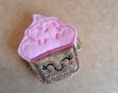 Pink & Gold Felt Cupcake Hair Clip, Cupcake Hair Clip, Toddler Hair Clippie, Girls Hair Clip, Birthday Cupcake Hair Bow  (Item 15-713)