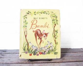 Vintage Bambi Book - Disney's Bambi Children's Book - 1942 Illustrated Picture Book - Walt Disney Grosset & Dunlap - Baby Shower Gift
