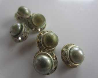Vintage Buttons - 6 beautiful matching 1/2 inch faux pearl (silver tone) and rhinestone flower design, silver finish metal,  (oct 147)