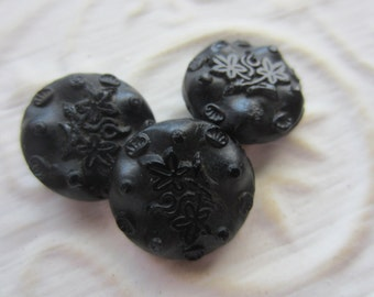 Vintage Buttons -  beautiful lot of 3 medium size matching Victorian jet black glass, pressed design, (mar 76)