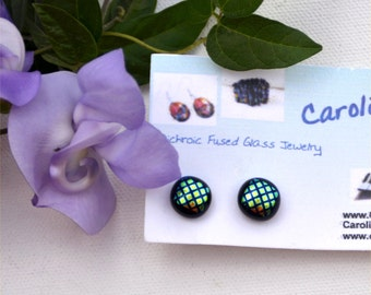 208 Fused dichroic glass earrings, green yellow squares on black, round