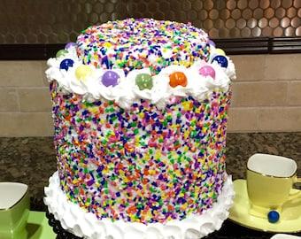 Artificial Cake ~ Fake Cake ~ Display Cake ~ Birthday Photography Prop ~ Birthday Cake ~  Faux Birthday Cake ~ Display Cake  ~ Fake Food