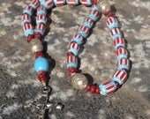 On Sale Turquoise Blue Chevron African Trade Beads and Horn Anglican Rosary  Protestant Prayer Beads