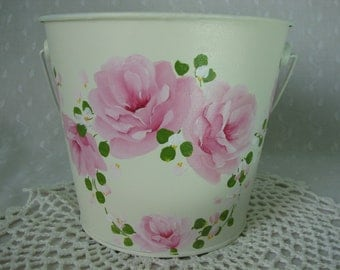 Metal Tin Bucket Pail Hand Painted Pink Roses Cottage Chic Home Storage Decor no. 3
