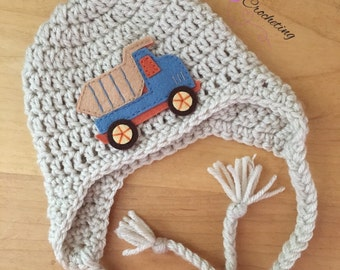 Newborn dump truck hat.. Earflaps hat.. Photography prop... Ready to ship