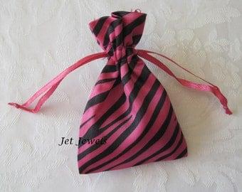 20 Gift Bags, Drawstring Bags, Jewelry Gift Bags, Pink Drawstring Bags, Zebra Animal Print, Hot Pink, Sachet Bags, Satin Bags 3x4