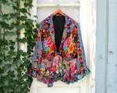 Brilliant Floral Woven Cotton Upcycled Jacket// Electric Blue Multi Colored// emmevielle