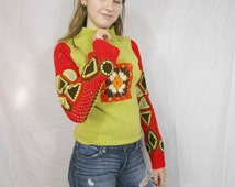 Small OOAK Crochet Granny Square Upcycled Mock Turtleneck Sweater// One of a Kind// emmevielle