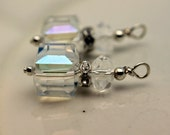 Clear AB Square Cube Cut Crystal and Rondelle Crystal, Pendant Charm Earring Dangle Drop Beaded Set, Bride Earrings, Wedding Jewelry