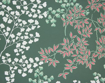 1950s Vintage Wallpaper Botanical Red and White Leaves on Green by the Yard
