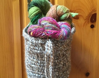 Handmade crochet basket large round handle spa style Bathroom Storage Yarn Bowl bucket storage container large crochet