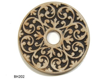 Handmade Ceramic Stoneware Filigree Disc Pendant, Jewelry Component, Gas Fired and Finished with Black and Ocher Terra Sigillata