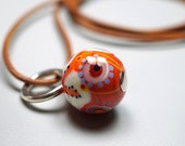 Lampwork Bead Pendant // Orange // Lampwork Bead // Hand Blown Murano Glass