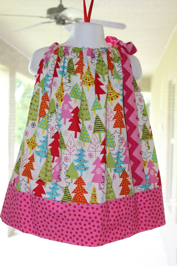 Christmas Dress, Handmade, Holiday Dress, Whimsical Tree Dress, Baby Dress, Toddler Dress, Preteen Dress, Girls Dress, Bright Colorful Dress