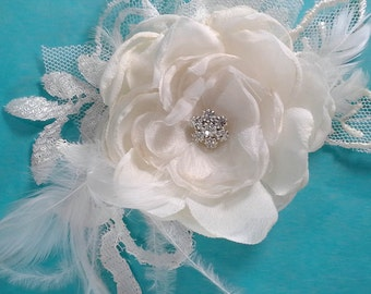 Bridal Hair rose, Ivory Lace, Organza Feather Rose Hair Clip E152 - bridal wedding hair accessory
